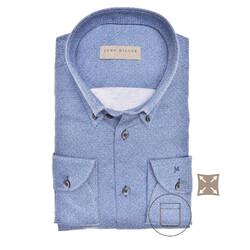 John Miller Faux Uni Tailored Fit Overhemd Donker Blauw