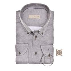 John Miller Faux Uni Tailored Fit Overhemd Midden Bruin
