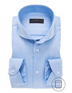 John Miller Fine Check Cutaway Overhemd Midden Blauw