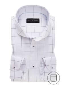John Miller Fine Check Cutaway Overhemd Wit