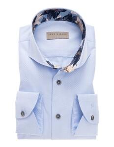 John Miller Fine Contrast Cotton Overhemd Midden Blauw
