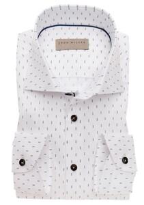 John Miller Fine Dotted Stripe Contrast Overhemd Midden Bruin