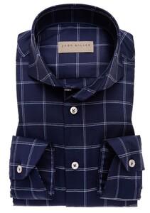 John Miller Fine Duo Check Overhemd Donker Blauw