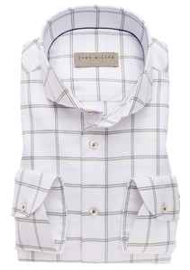 John Miller Fine Duo Check Shirt White-Green