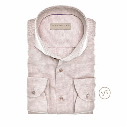 John Miller Fine Pattern Slim Fit Overhemd Khaki