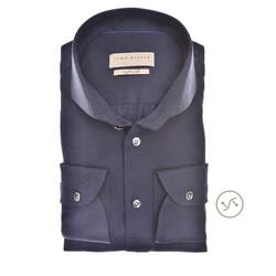 John Miller Fine Structure Slim Fit Overhemd Donker Blauw