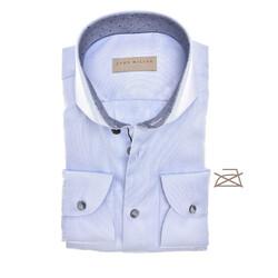 John Miller Fine Structure Tailored Fit Overhemd Licht Blauw