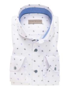John Miller Floral Fantasy Sleeve 7 Shirt White-Blue