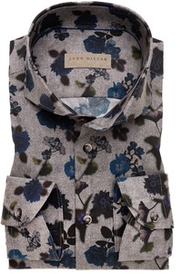 John Miller Floral Pattern Stretch Mouwlengte 7 Overhemd Midden Grijs