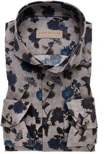 John Miller Floral Pattern Stretch Sleeve 7 Shirt Mid Grey