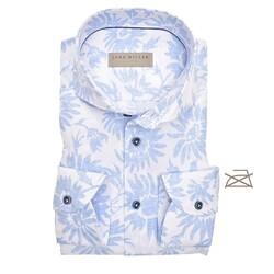 John Miller Flower Non Iron Tailored Fit Overhemd Licht Blauw