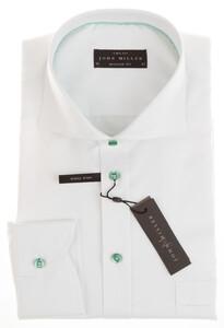 John Miller Green Contrasted Plain White Shirt White