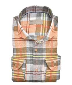 John Miller Linnen Bold Check Cutaway Overhemd Midden Groen