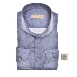 John Miller Long Sleeve Dot Stripe Tailored Fit Overhemd Donker Blauw