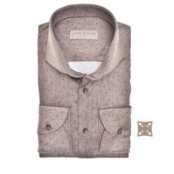 John Miller Long Sleeve Dot Stripe Tailored Fit Overhemd Midden Bruin