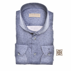 John Miller Long Sleeve Dot Stripe Tailored Fit Shirt Dark Evening Blue