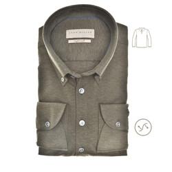 John Miller Long Sleeve Polo Slim Fit Poloshirt Dark Green