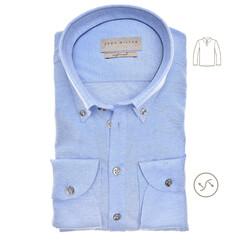 John Miller Long Sleeve Polo Slim Fit Poloshirt Mid Blue