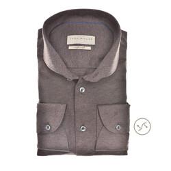 John Miller Long Sleeve Slim Fit Shirt Mid Brown
