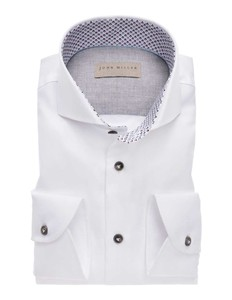 John Miller Luxury Structure Fashion Contrast Overhemd Wit