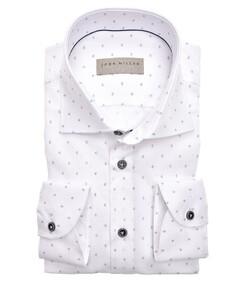 John Miller Mini Multi Dot Fine Structure Overhemd Wit
