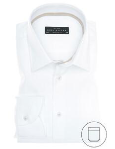 John Miller Non-Iron Basket Weave Overhemd Wit