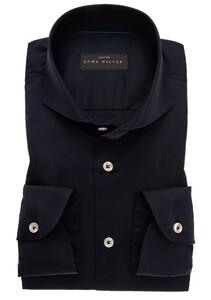 John Miller Plain Cotton Stretch Sleeve 7 Shirt Dark Evening Blue
