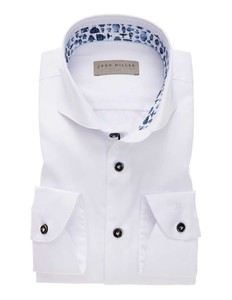 John Miller Pottery Contrast Button Uni Shirt White