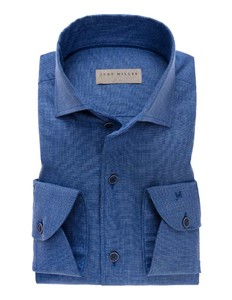 John Miller Schiller Button Down Uni Overhemd Midden Blauw