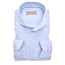 John Miller Seersucker Slim Fit Overhemd Licht Blauw