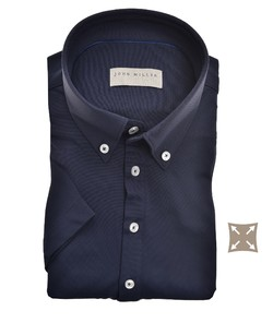 John Miller Slim Casual Button Down Short Sleeve Hyperstretch Polo Donker Blauw