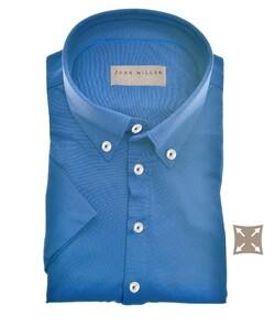 John Miller Slim Casual Button Down Short Sleeve Hyperstretch Polo Midden Blauw