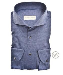 John Miller Slim Cutaway Tricot Faux Uni Overhemd Midden Blauw