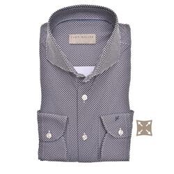 John Miller Slim Dotted Cutaway Stretch Overhemd Donker Blauw