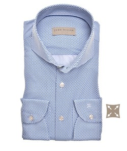 John Miller Slim Dotted Cutaway Stretch Overhemd Midden Blauw