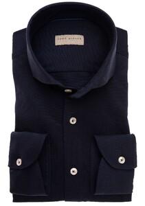 John Miller Slim Tricot Cotton Overhemd Donker Blauw