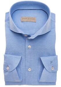John Miller Slim Tricot Cotton Overhemd Midden Blauw
