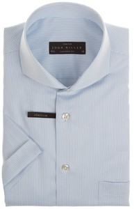 John Miller Small Stripe  Overhemd Licht Blauw