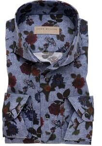 John Miller Stretch Floral Pattern Overhemd Midden Blauw