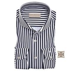 John Miller Striped Hyperstretch Tailored Fit Overhemd Donker Blauw