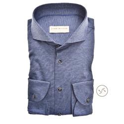 John Miller Tailored Cutaway Tricot Faux Uni Overhemd Midden Blauw