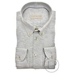 John Miller Tailored Fit Longer Sleeve Overhemd Midden Groen