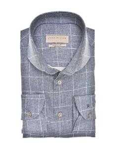 John Miller Textured Check Tailored Fit Overhemd Donker Blauw