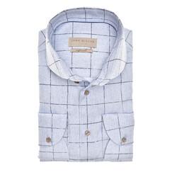 John Miller Textured Check Tailored Fit Overhemd Licht Blauw