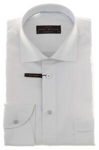 John Miller Two-Ply Satin White Overhemd Wit