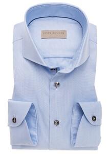 John Miller Uni Button Contrast Mouwlengte 7 Overhemd Licht Blauw