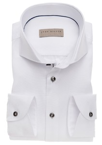 John Miller Uni Button Contrast Mouwlengte 7 Overhemd Wit