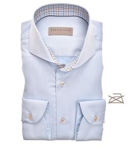 John Miller Uni Check Contrast Overhemd Licht Blauw