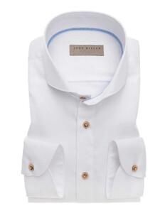 John Miller Uni Contrast Button Sleeve 7 Shirt White