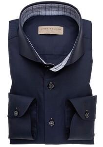 John Miller Uni Fine Check Contrast Shirt Dark Evening Blue